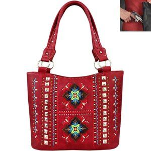 Concealed Carry Aztec Embroidery Tote Shoulder Bag